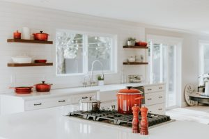 white kitchen counter tops